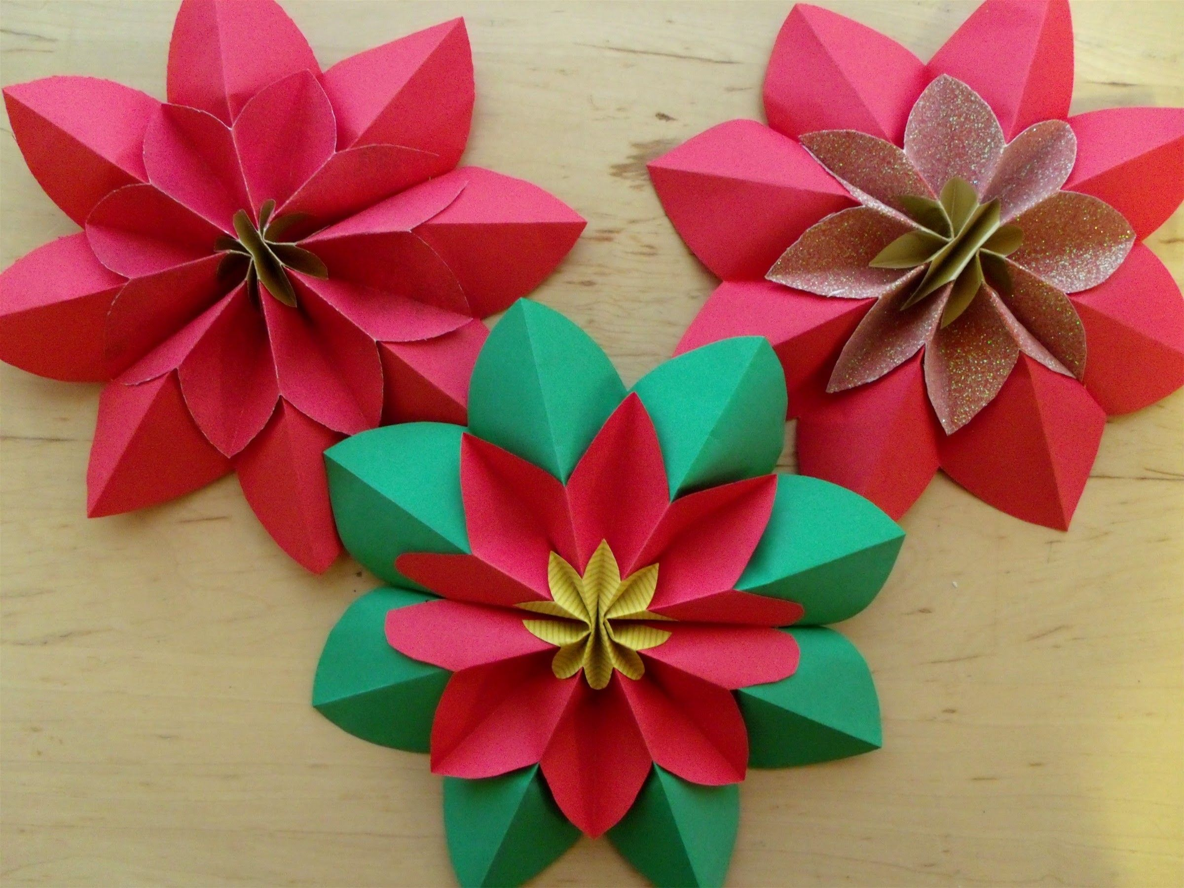 How To Fold A Poinsettia Flower Origami Papercraft Pinterest