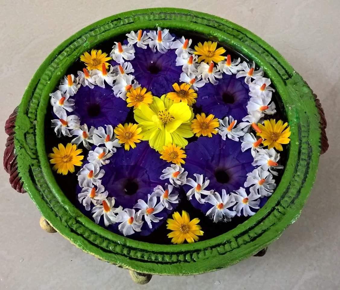 Floating Flowers Floating flowers, Rangoli designs