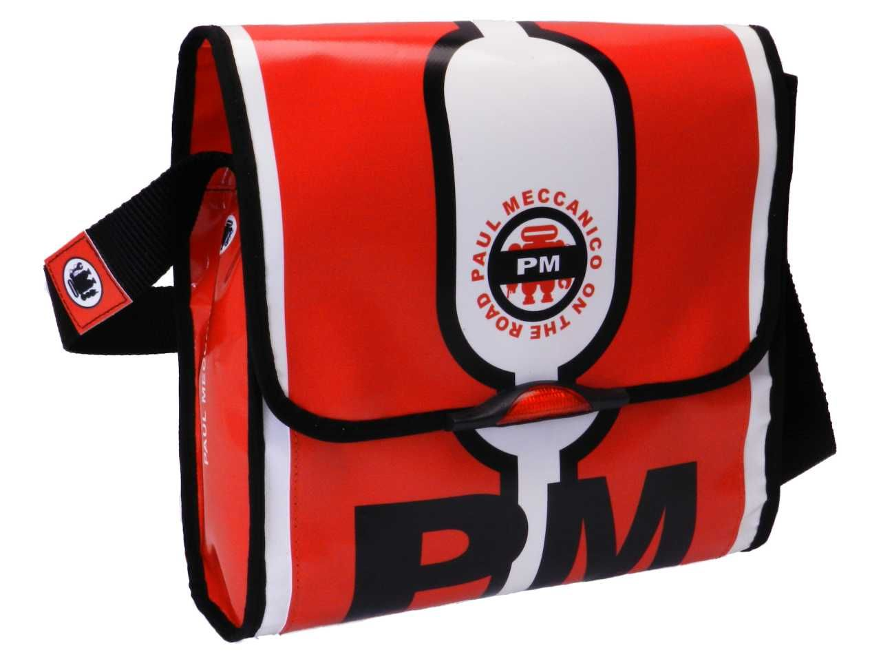 SHOULDER BAG BLACK WHITE AND RED COLOURS. BREAK MODEL MADE OF LORRY TARPAULIN.