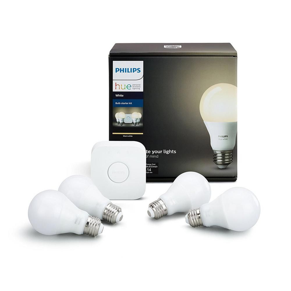 White A19 Led 60w Equivalent Dimmable Smart Wireless Lighting Starter Kit 4 Bulbs And Bridge Kit Homes Bulb Home Automation