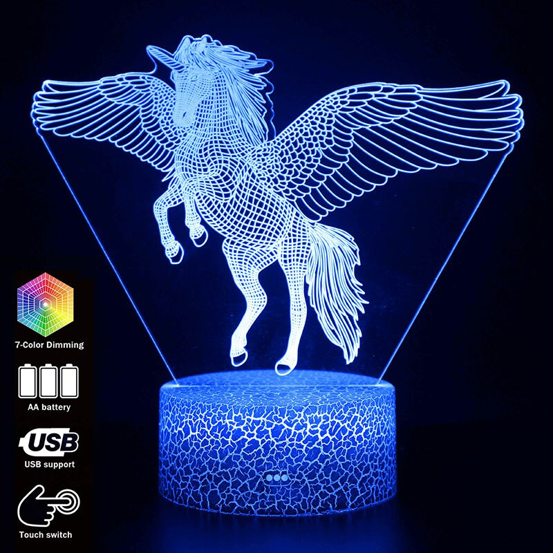 3d Illusion Unicorn Table Lamp Touch Led Night Light Home Room Rainbow Horse Lampen Decor Lighting Creative Lamp Fo Creative Lamps Led Night Light 3d Illusions