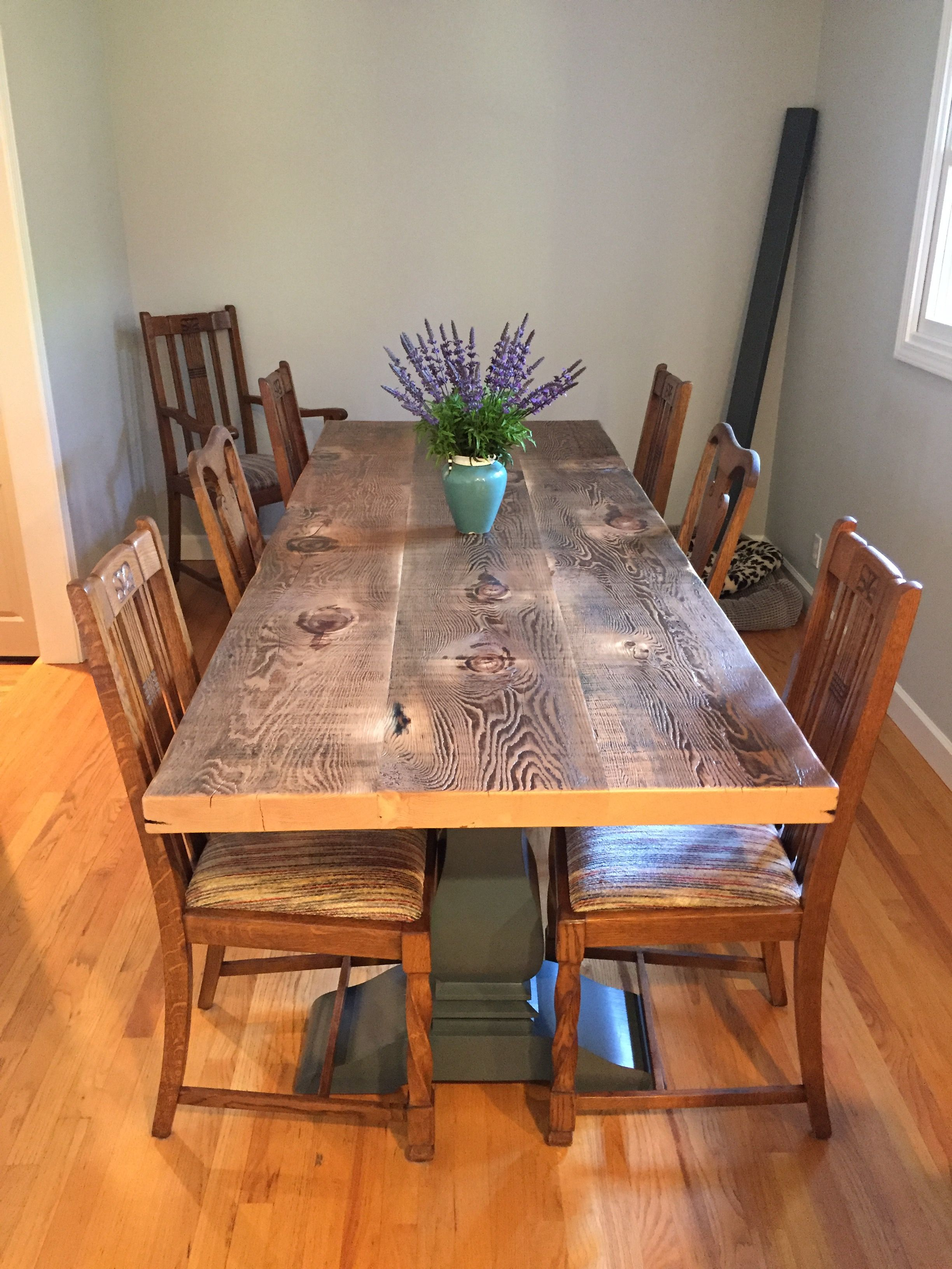 Gorgeous Dining Table Made Out Of Old Joists From The Historic Novato Theater Finished In A Satin Polyurethane And Sitting On Client Provided Base