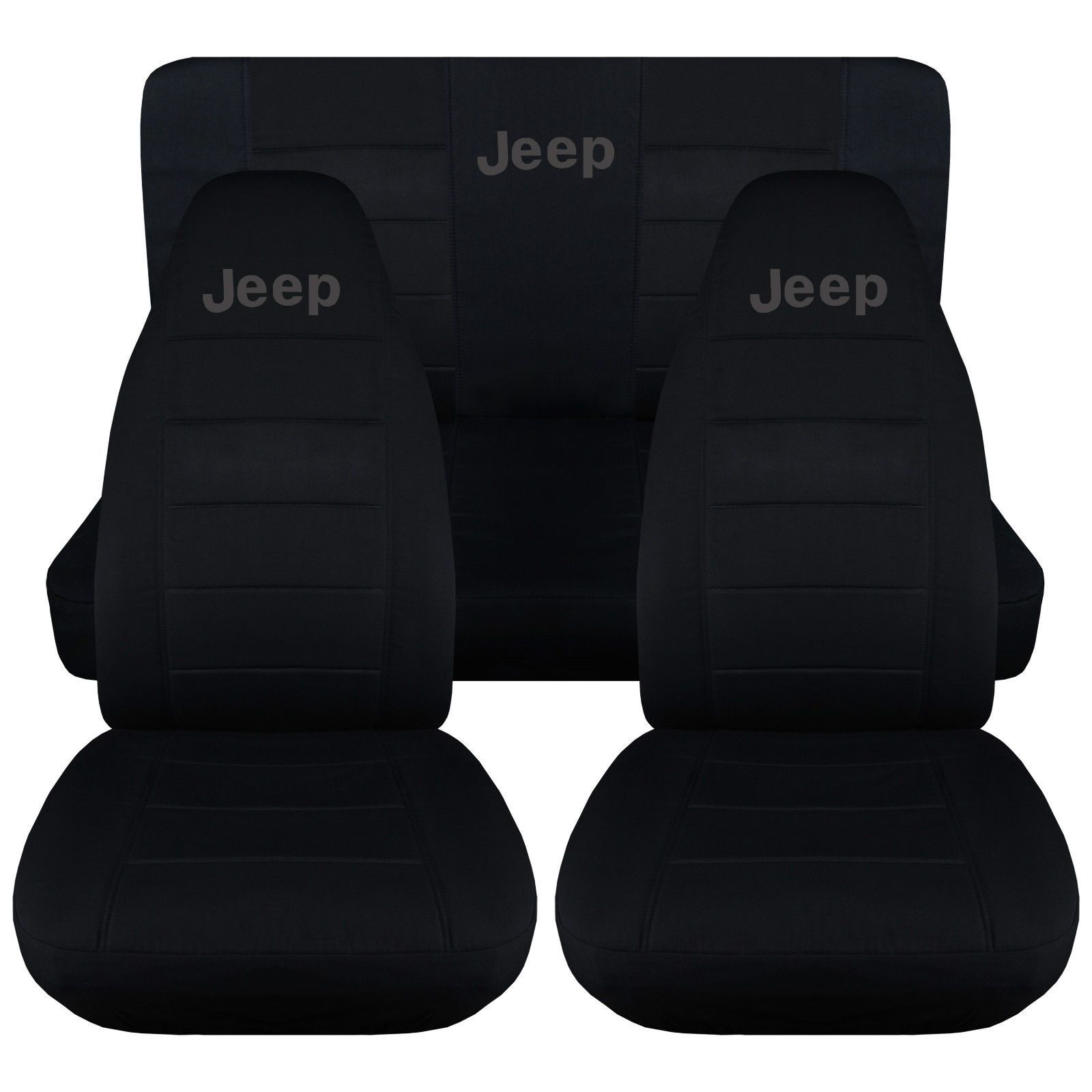 Jeep Wrangler TJ Front Back Car Seat Covers Solid Black w