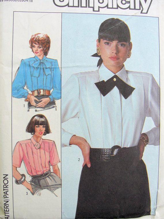 Jahrgang der 1980er Jahre Einfachheit 8237 Satz 3 Bluse und Krawatte ...