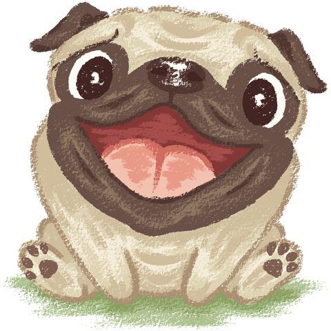 Pug Character On Behance Happy Pug Pug Cartoon Dog Print Art