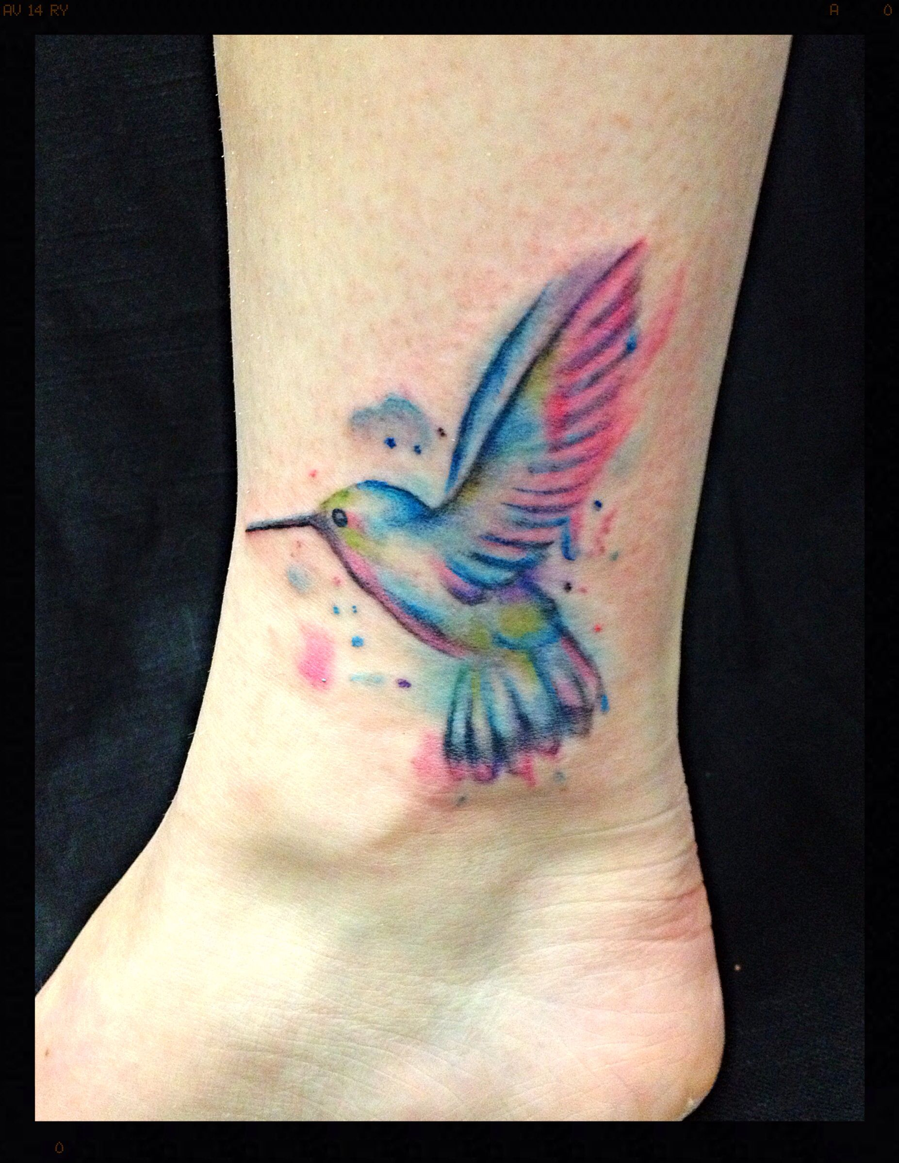 Watercolor Hummingbird Tattoo Colorful Hummingbird Tattoo