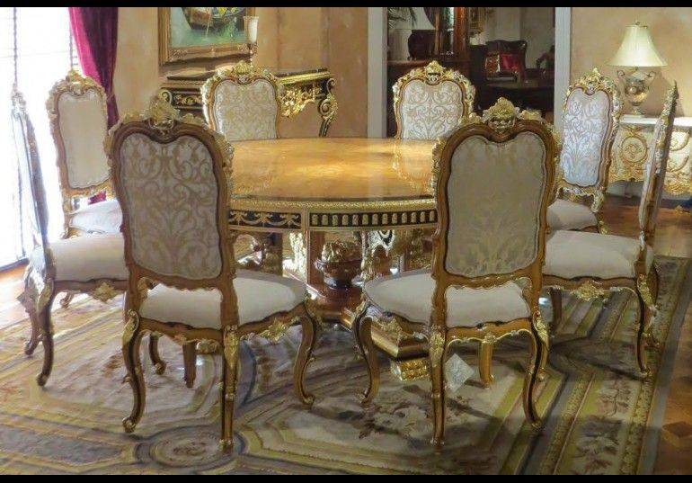 King Louis Collection Boulle Marquetry, King Louis Dining Room Set