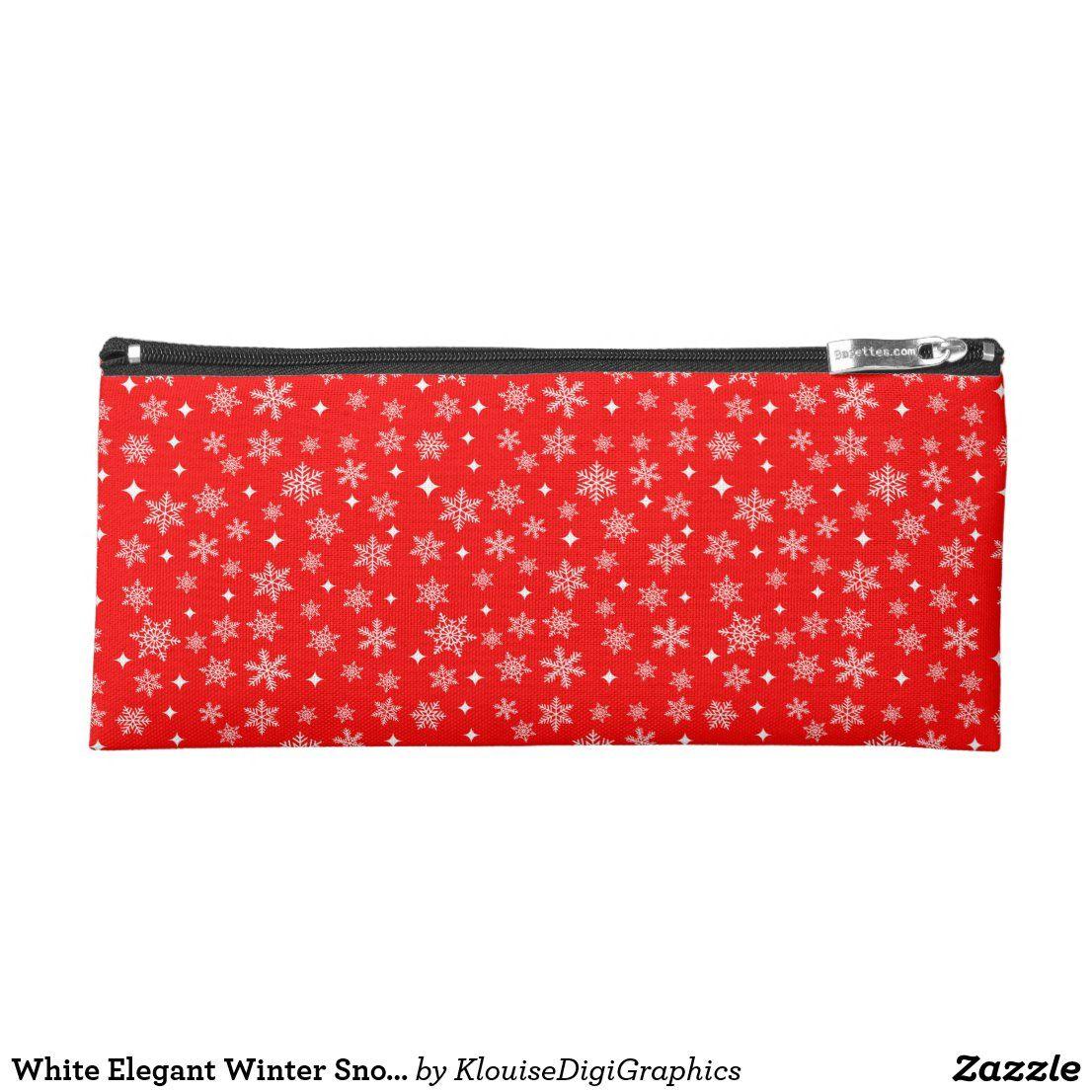 Photo of Blancos elegantes copos de nieve de invierno en estuche rojo brillante   Zazzle.com