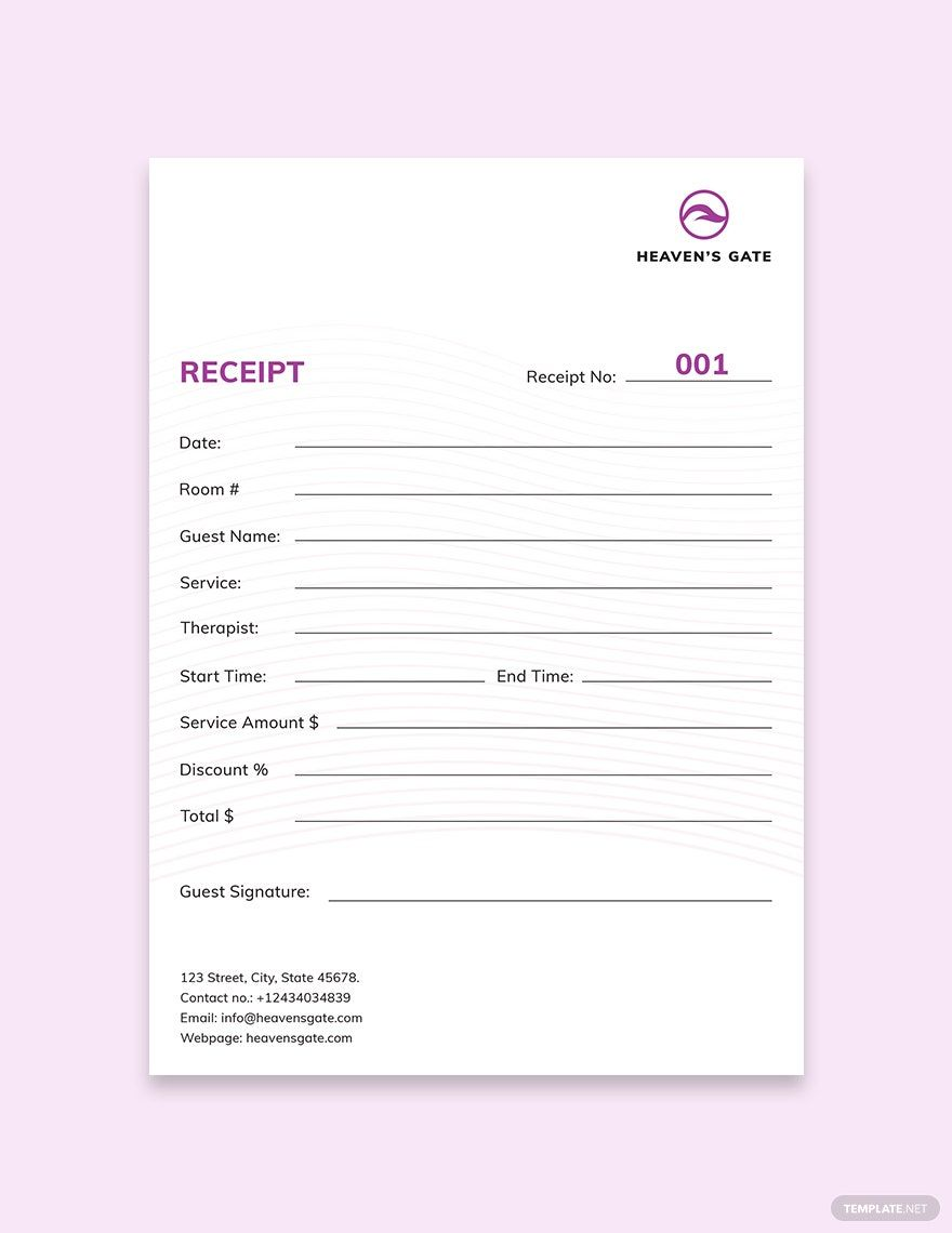 Instantly Download Massage Receipt Template Sample Example In Microsoft Word Doc Microsoft Excel Xls Adobe Photosh Receipt Template Templates Indesign