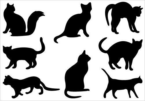 Download Cats Silhouette Clip art Pack | Silhouette Clip Art ...