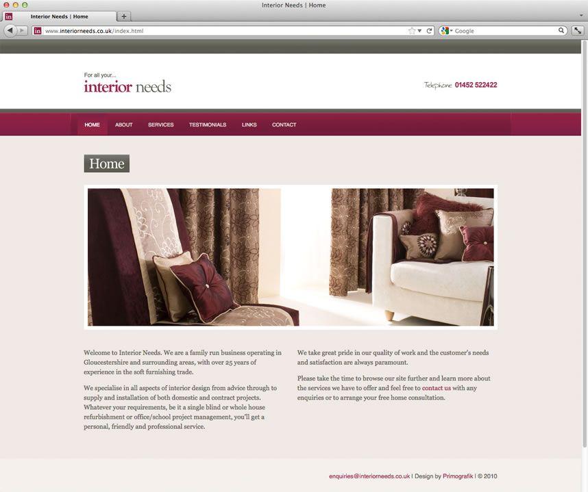 Bespoke Web Design For Furnishing Company In Gloucester Interior Web Graphic Design Stationary Design