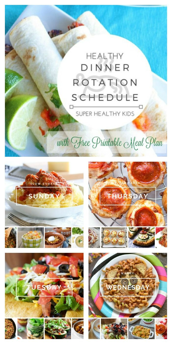 Healthy Theme Dinner Rotation Schedule And Free Meal Plan Healthy