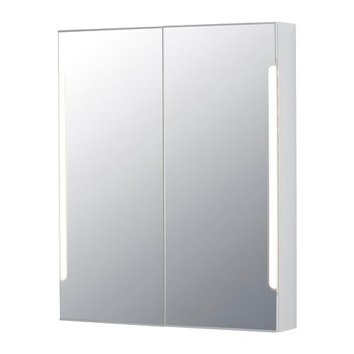 STORJORM Spiegelkast 2 deur/ingb verlichting, wit - Gloeilampen ...