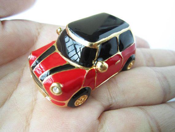 Gold Mini Cooper Chili Red Mini Car Keychain Black In Car Roof And