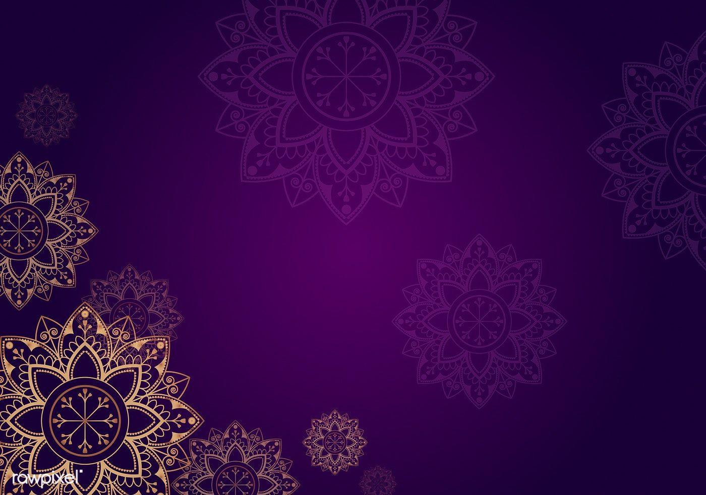 Download Premium Vector Of Gold Mandala On Purple Background Vector 555669 Mandala Background Islamic Background Vector Purple Backgrounds