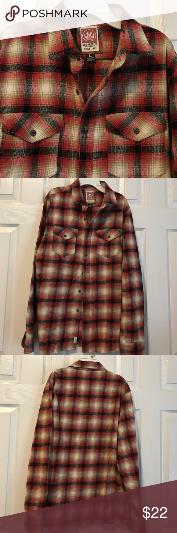 Flannel with shirt underneath  Micros Los Angeles flannel plaid button down shirt  Flannels Plaid