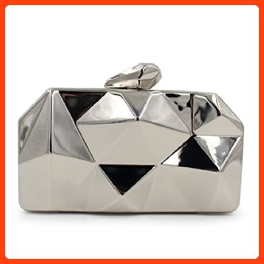 c8c51f9e5504 Fit & Wit Womens Alloy Metal Abstract Stone Cut Hardcase Evening Cocktail  Wedding Party Handbag Clutch Purse - Silver (*Partner Link)
