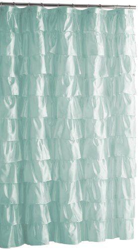 Steve Madden 181069 Ruffles Shower Curtain Pale Aqua