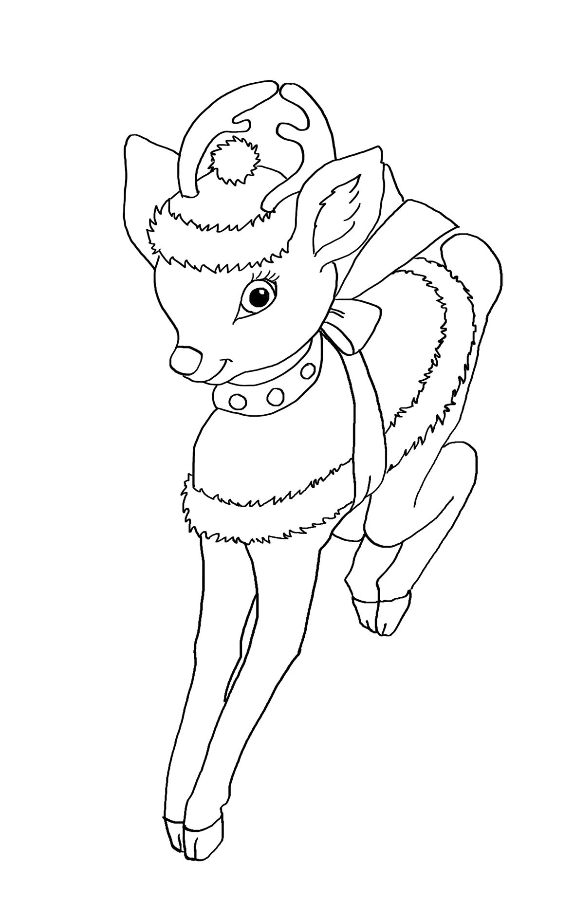 Wonderful Coloring Sheet With A Drawing Of A Cute Reindeer Dressed For Christmas In 2020 Christmas Coloring Pages Coloring Pages Christmas Colors