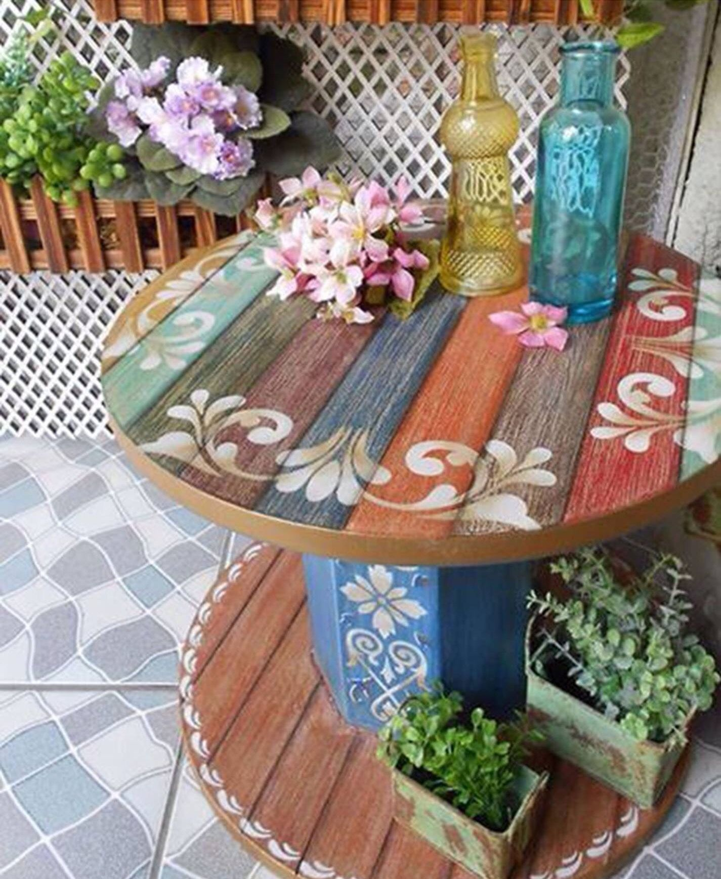 Painted Spool Outdoor In 2019 Spool Tables Wooden Spools