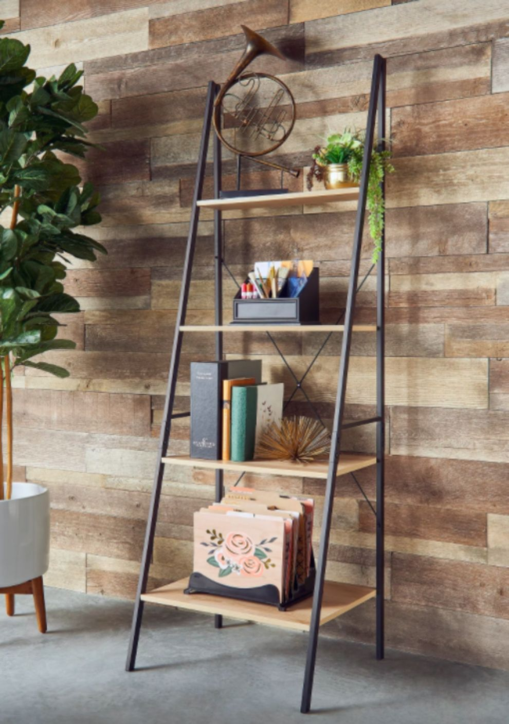 A Ladder Bookcase For Holding All Your Decorative Accessories Both Big And Small Ladder Shelf Decor Ladder Bookcase Shelf Decor Bedroom