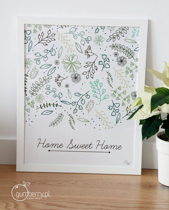 Home Sweet Home Printable Downloadable Poster Scandinavian Style Typoposter Typographic Wall Decoration
