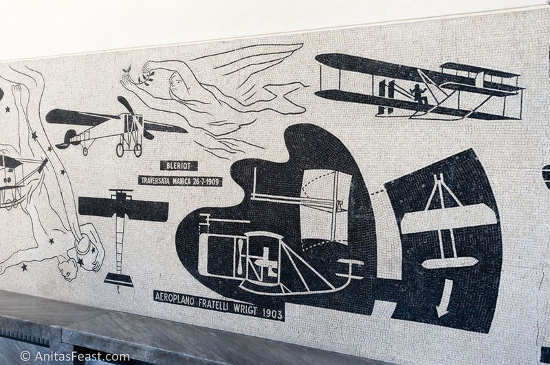 Mosaics in the Italian Fascist Youth Organization Air Force College located on Viale della Libertà in Forlì, Italy