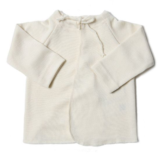 Miniluu Engel Double Merino Wool Wrap Over Vest Cream Baby