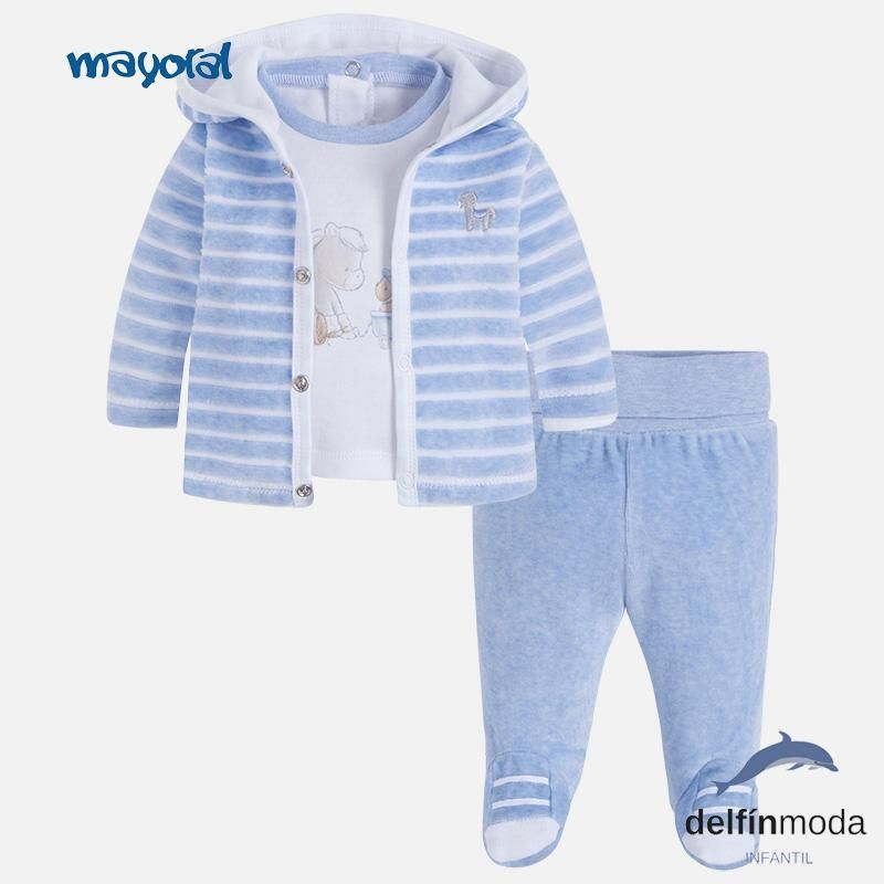 b8a8f6dc983 Chandal para bebe niño MAYORAL newborn tres piezas celeste