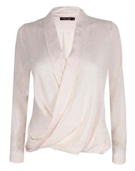 Long Sleeve Blouse Chiffon V Neck Wrap Front T Shirt Work Top: Amazon.co.uk: Clothing