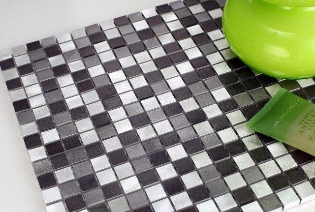 MOS4500 Mosaic Tile - Tri-colour brushed aluminium mosaic tiles in square pattern are perfect for contemporary bathroom and kitchen backsplash by Nova Deko.