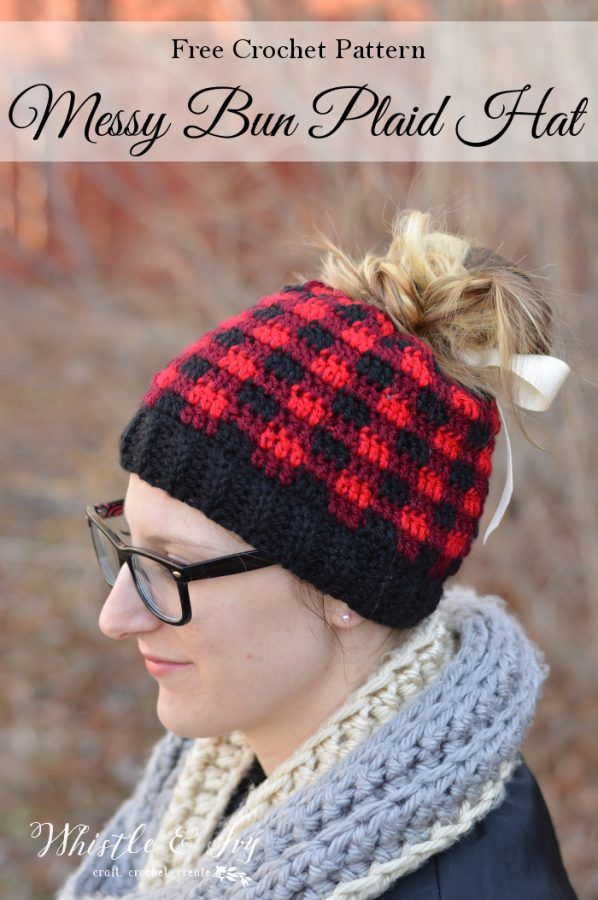 Crochet Plaid Messy Bun Hat - Free Crochet Pattern  5ad36e84f3d2