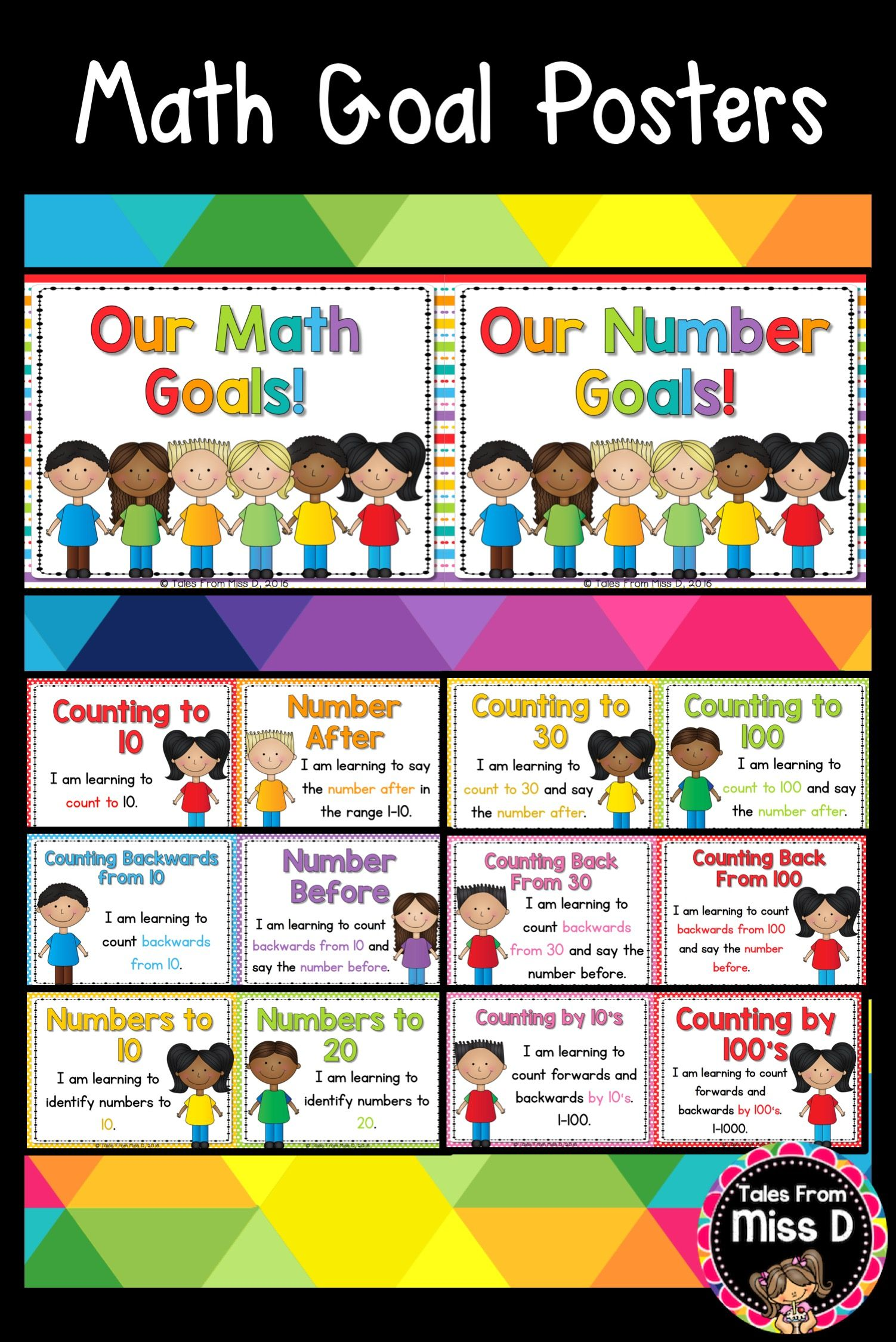 Set Up And Display Math Goals In Your Classroom With This Bright And Colourful Display The Goals Are Divided Into 5 Areas Math Learning Goals Visible Learning