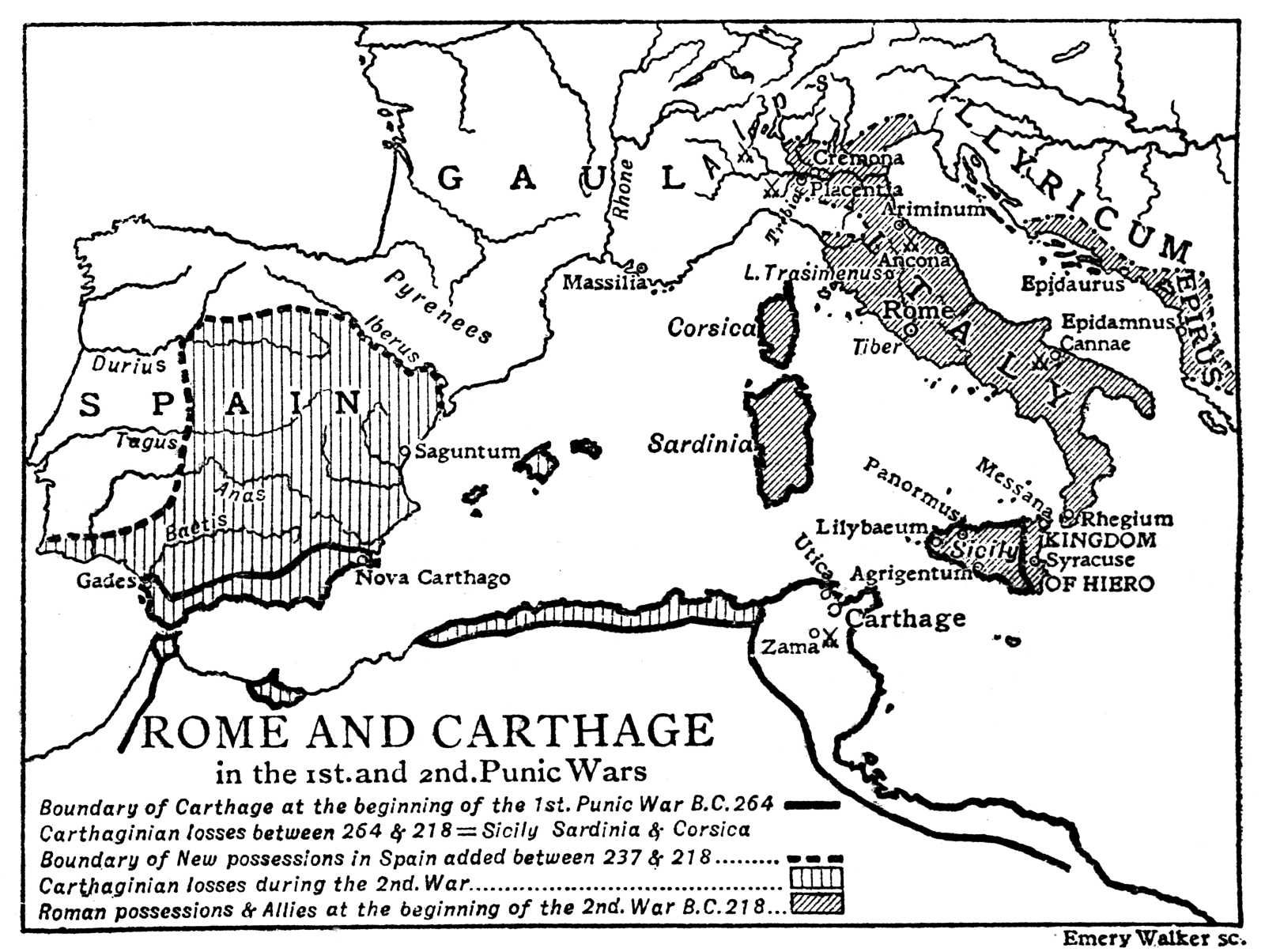 Week5 Map Of Rome And Carthage In The 1st And 2nd Punic Wars 1933