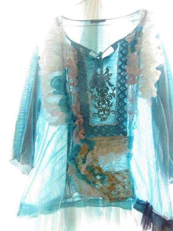 Tunic shirt upcycled clothing blue mermaide sea etnic by radusport, $54.00