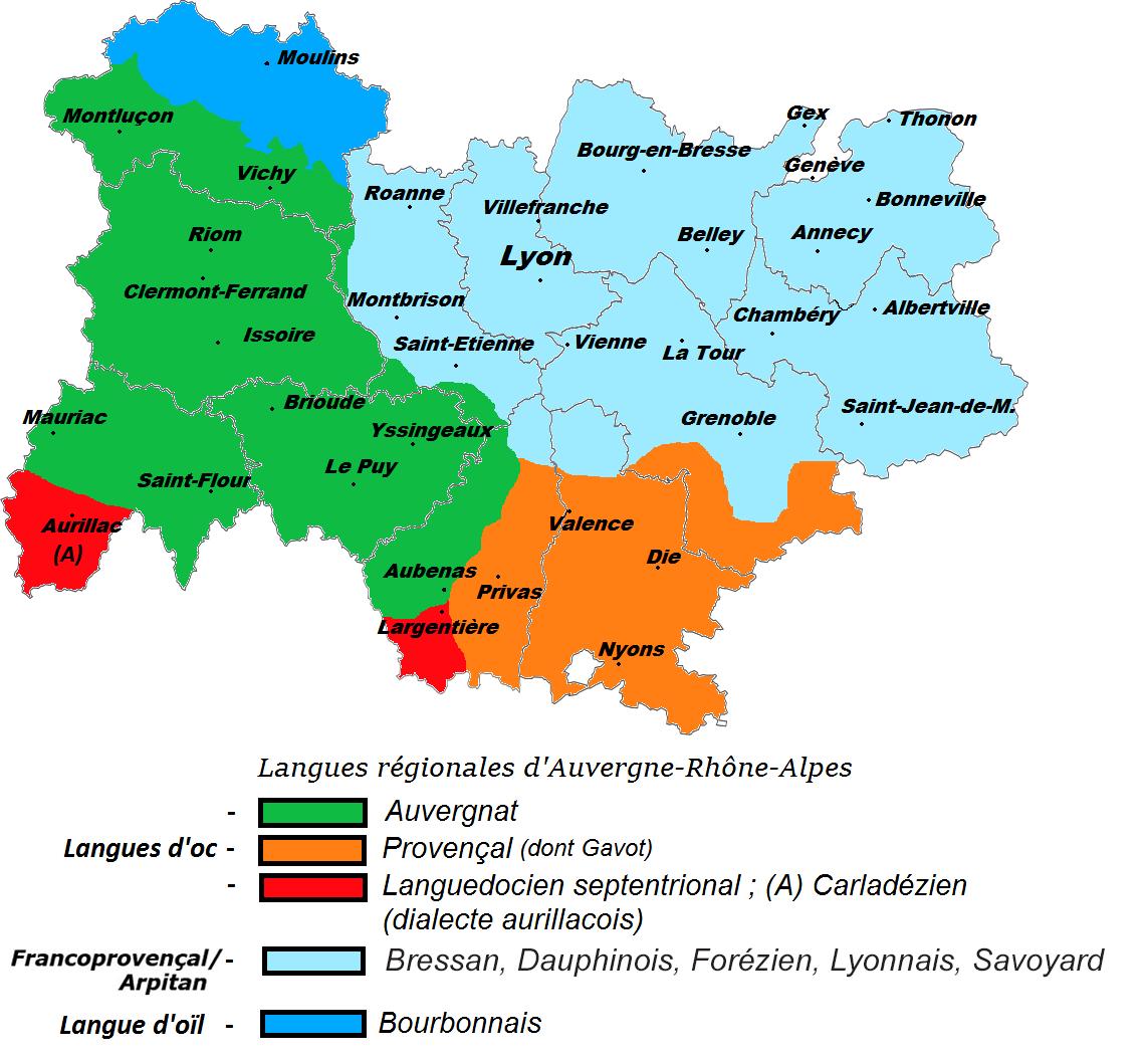 Languages of Auvergne-Rhône-Alpes region, France   Rhone-alpes, Auvergne, Region