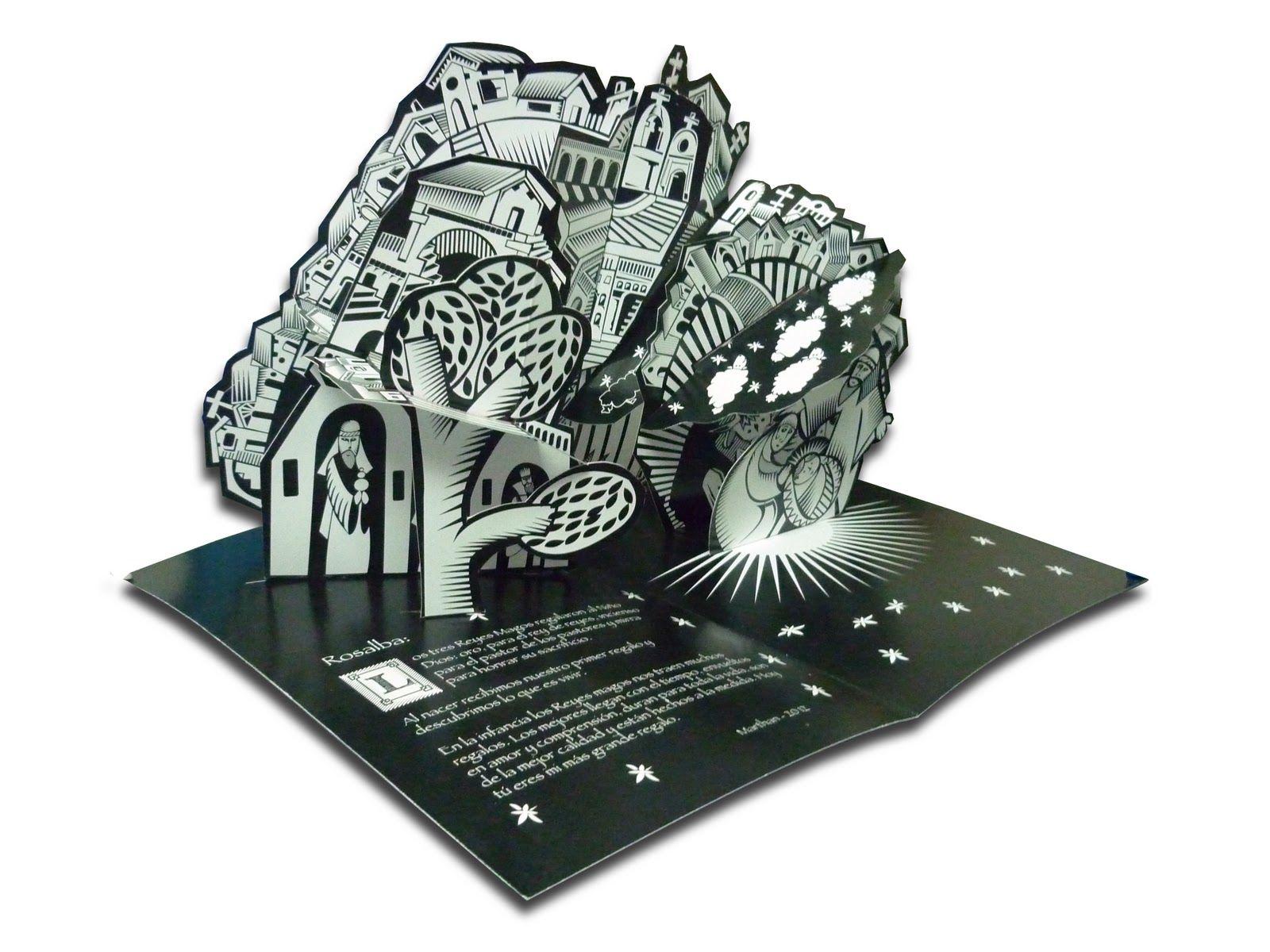 Tarjeta Pop Up Interior Nacimiento De Navidad Y Reyes Magos Diseño Ilustración E Ingeniería En Papel Marthan Pop Up Home Appliances Decor