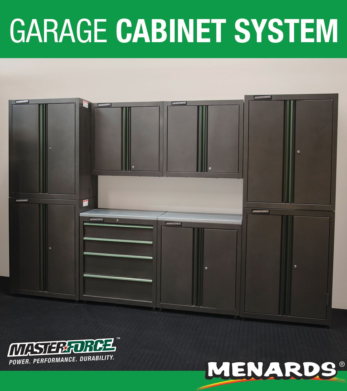 This Masterforce 8 Piece Garage Cabinet System Comes With Four 2 Door Stacking Cabinets One 2 Door Base Cabinet In 2020 Garage Cabinet Systems Storage Locker Storage