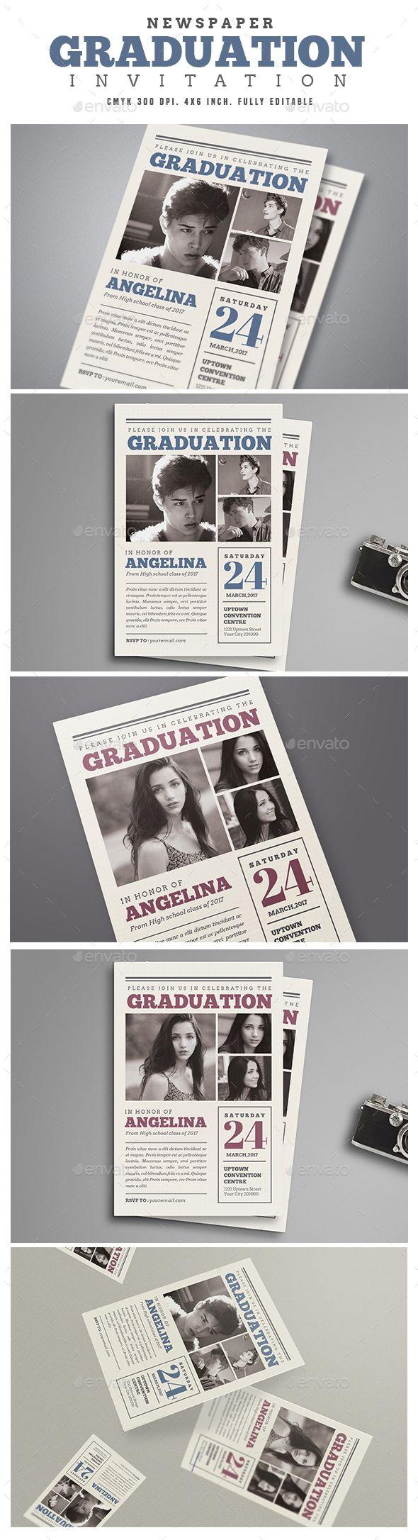 Newspaper Graduation invitation   Fonts-logos-icons   Pinterest ...
