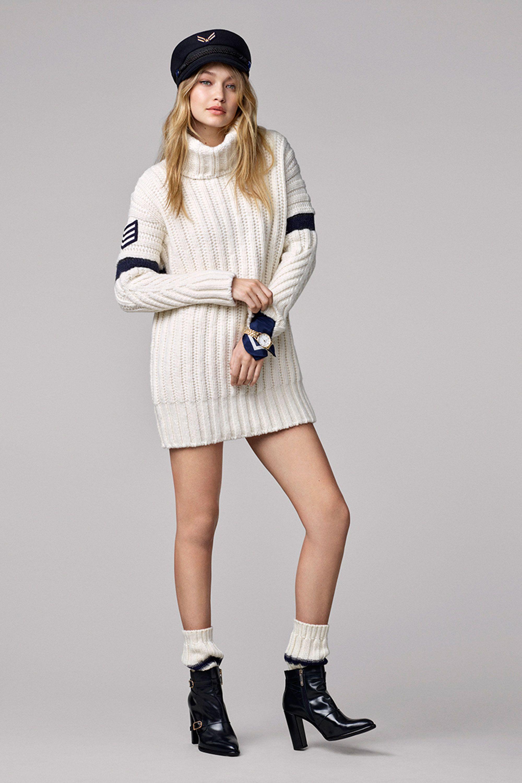 c9e1665bc48b5 Gigi Hadid, greek fisherman cap, black booties, ankle socks, sweater dress.  Look 13 - Gigi Hadid x Tommy Hilfiger ...