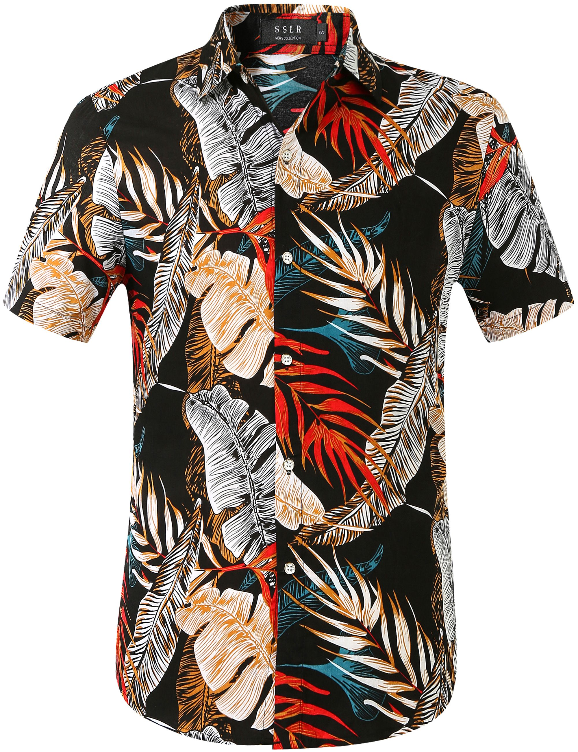 Mens Leaf Printed Casual Hawaiian Shirts