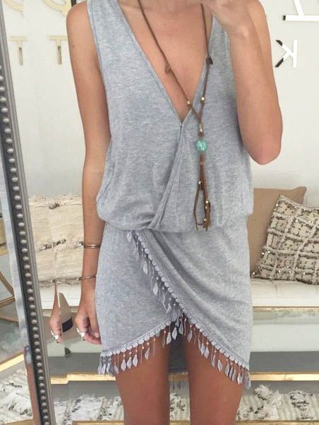 Grey Deep V-necked Irregular Tassel Hem Sleeveless Dresses