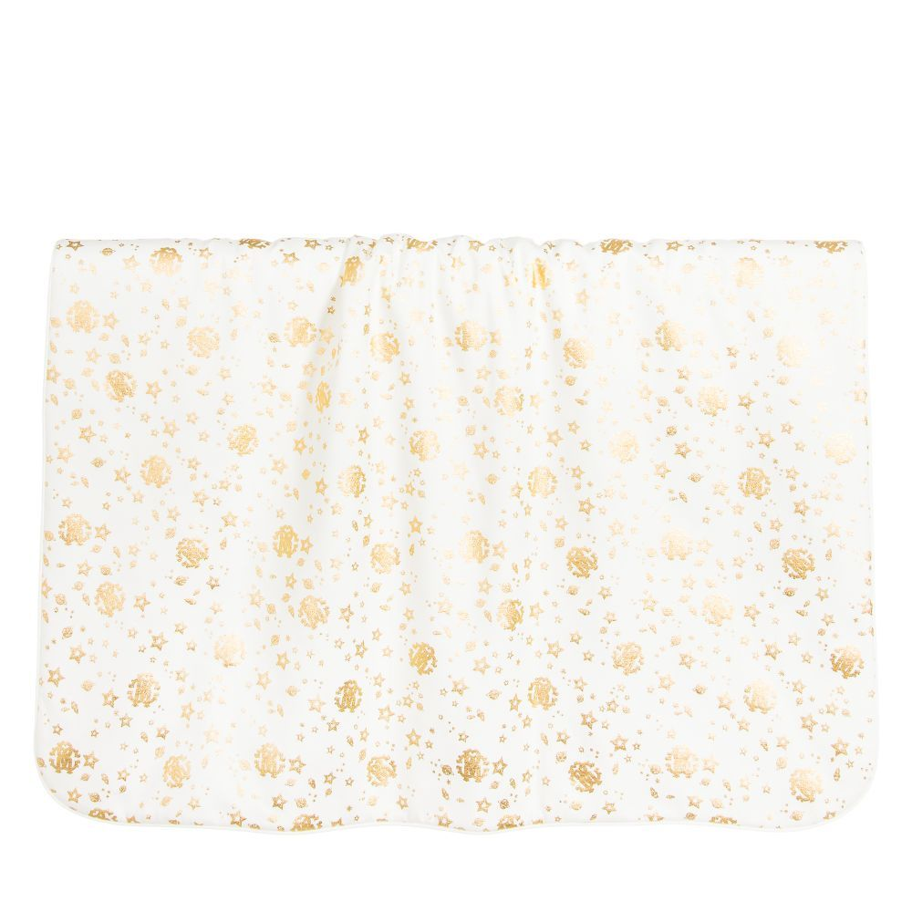 5ed0744f7c29dd Ivory cotton jersey baby blanket by Roberto Cavalli. Lightly padded, with a  gold foil logo and space print and a reverse side with 'RC' logo embroidery.
