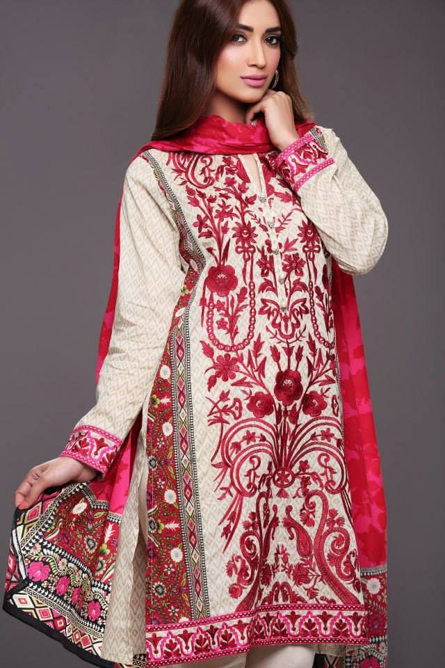Red and White Embroidered Lawn Suit from Khaadi Lawn 2015 Collection ...