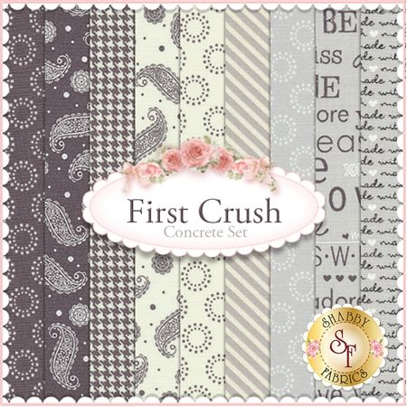 "First Crush 9 FQ Set - Concrete by Sweetwater for Moda Fabrics: First Crush is a fun Valentine collection by Sweetwater for Moda Fabrics. 100% cotton. This set contains 9 fat quarters, each measuring approximately 18""x21"""