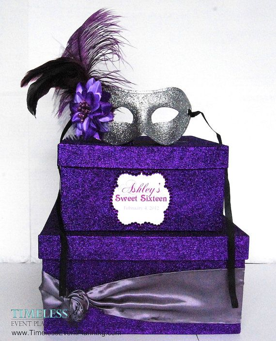 Masquerade Glitter Card Box 2 Tier by Sweet16CandleHolder on Etsy, $95.00