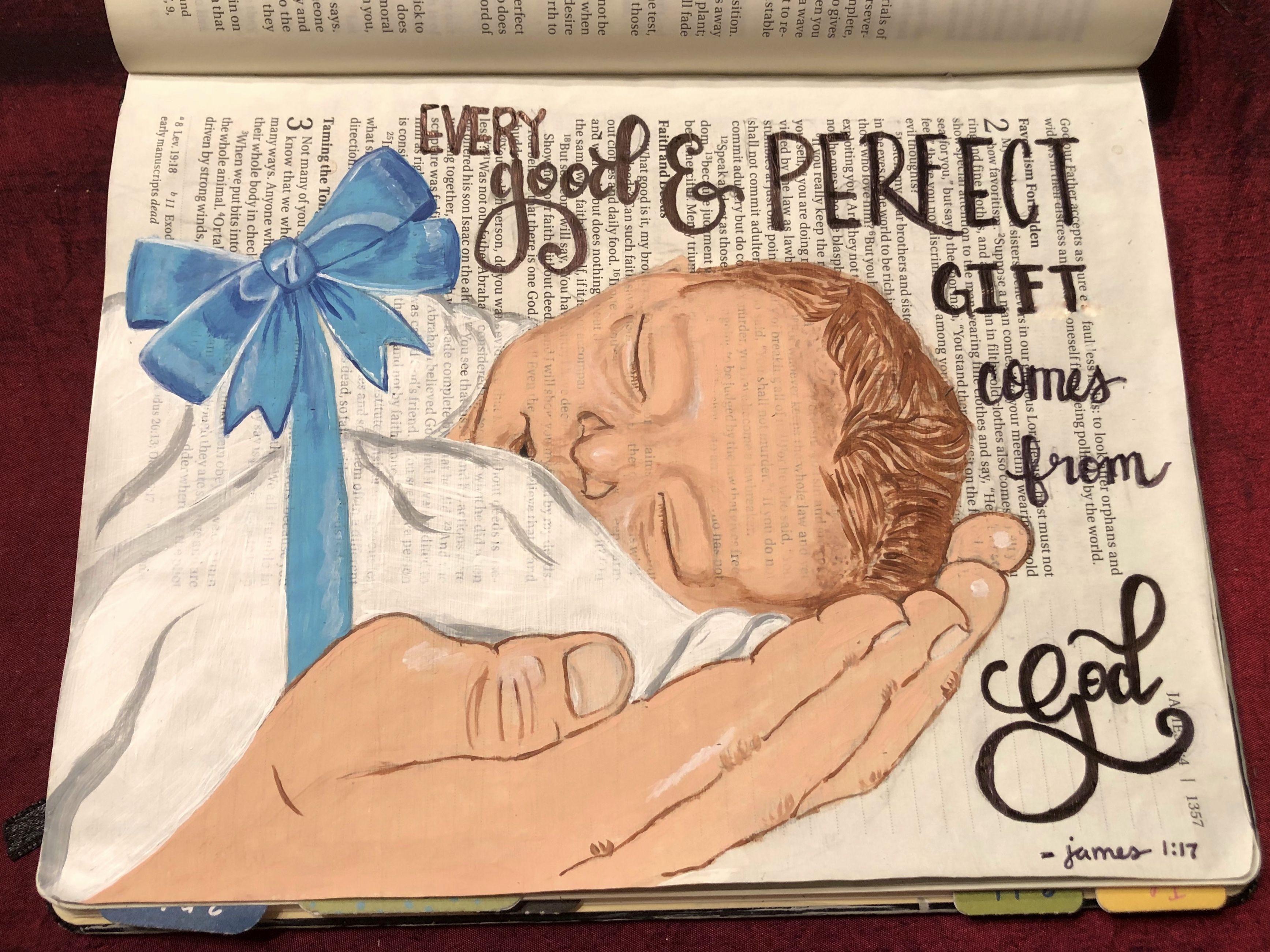 Every good and perfect gift comes from God. This is my son and my husbands  hand holding him...a perfect … | Bible drawing, Bible illustrations,  Christian journaling
