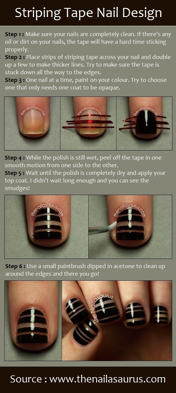 Striping Tape Nail Design | PinTutorials | Beauty | Pinterest | Tape ...