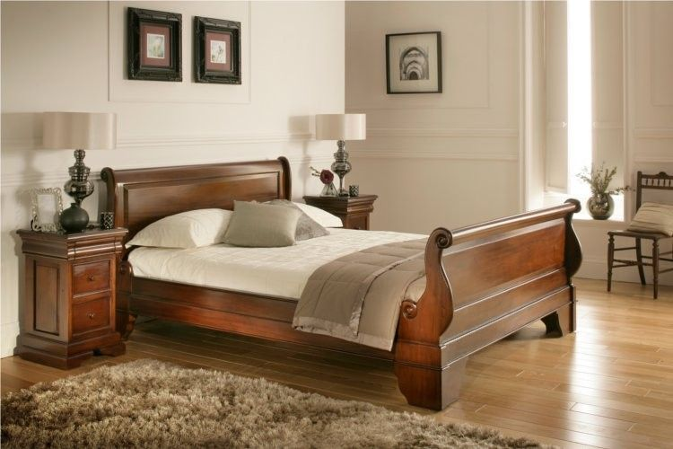 Toulouse Mahogany Wooden Sleigh Bed Dark Wood Wooden Beds