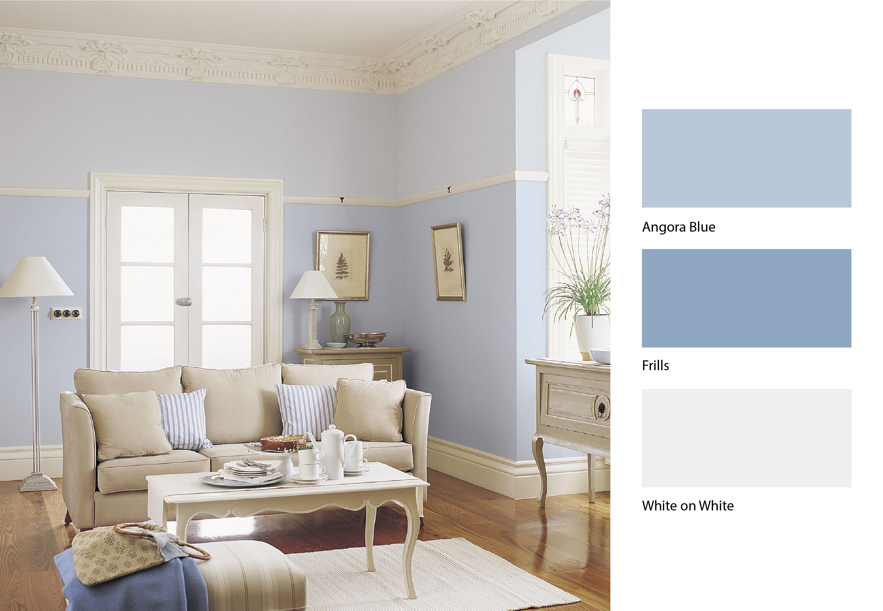Dulux angora blue dulux frillis and dulux white a for Dulux paint ideas bedroom